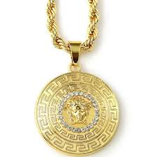 halukakah men s 18k real gold plated medusa pendant necklace with 5mm thick rope chain 30
