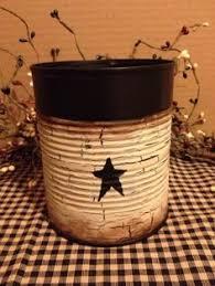 Primitive Tin Can Utensil Pencil Holder Crackle Country Farmhouse Decor |  eBay