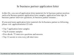 Hr Business Partner Application Letter In This File You Can Ref ...