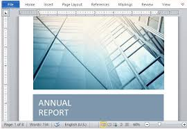 professional report template word annual report template with cover photo