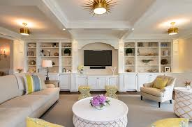 entertainment center decor ideas living room beach style with beige patterned ottoman beige sectional built
