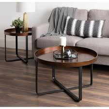 Rose gold (the color of kate and luca tables are exactly the same ). Kate And Laurel Zabel Brown Metaland Wood 28 Inch Round Modern Coffee Table 28 Diameter Overstock 28227609