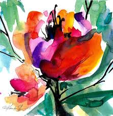 fl 8 original contemporary abstract flower watercolor painting by kathy morton stanion ebsq art passion