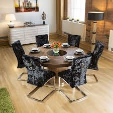 round walnut lazy susan dining table 1 4 6 black velvet chairs