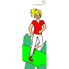 Small Picture Coloring Page of Girl running in the park colored for kids