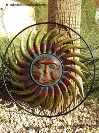 large round metal sun wall decor garden