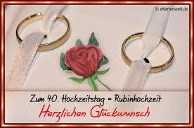 Zum 40 Hochzeitstag Rubinhochzeit Herzlichen Glückwunsch