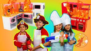 Kids Kitchen Kids Kitchen 2 The Twins The Kitchen Fire Pretend Cooking
