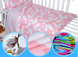 3pcs sets printing dyeing natural cotton baby bedding set cartoon pattern exquisite edging baby bed crib