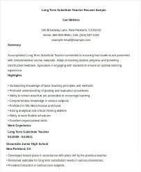 Long Term Substitute Teacher Resume Unique Substitute Teacher Resume