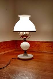 lamp milk glass hobnail lamp