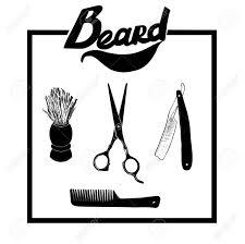 背景に分離した理容室材料の手描きイラスト セットベクトル ヒップスター理髪店アイコンひげはさみ