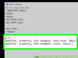 css number format example how to create a simple css stylesheet using notepad
