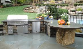 Kitchen Design Outdoor Kitchen With Pool And Stone Cabinet Also - Outdoor kitchen designs with pool
