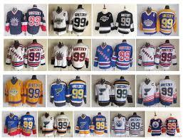 2019 Vintage Nhl 99 Wayne Gretzky Jersey Los Angeles Kings Edmonton Oliers St Louis Blues New York Rangers Ccm Retro Hockey Jerseys Size 48 56 From