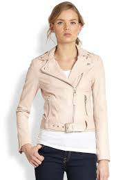 mackage leather moto jacket b2add 43e81 clearance lyst mackage leather motorcycle jacket in pink 9507f 67d0a