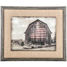 rustic barn with flag and burlap framed