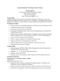 Sample Information Technology Lecturer Resume | Microsoft Access ...