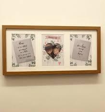 personalised triple heart photo frame