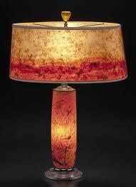t281 orange glass lamp hand blown confetti design with modern mica shade