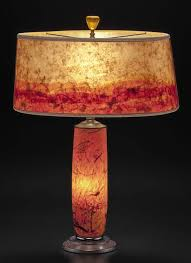 t281 orange glass lamp hand blown confetti design with modern mica shade