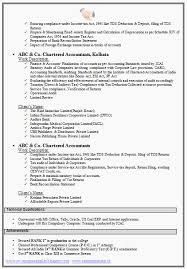 Chartered Accountant Resume Format Freshers Page 2 Two Page Resume