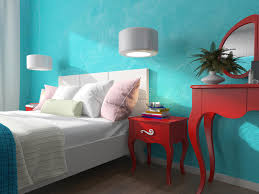 Download Bedroom With Turquoise Walls And Bedside Tables Stock Illustration  - Illustration of floor, interior