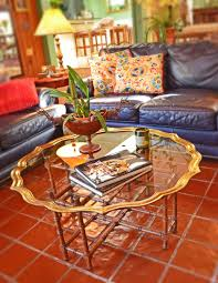 mid century fabulous brass glass scalloped top coffee table