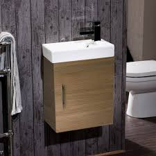 maisie compact wall mounted 400mm cloakroom vanity unit basin oak