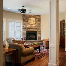 Classic room design with stone accent wall corner fireplace