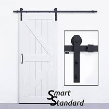 smartstandard heavy duty sy sliding barn door hardware kit 6 6ft super smoothly and quietly