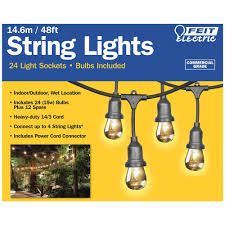 Feit Outdoor Weatherproof String Light Set White Feit Electric 48ft 14 6m Outdoor Lightstring By Feit Electric