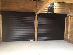 black double garage door