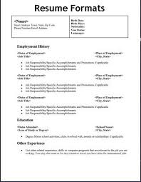 Different Resume Formats - Resume Templates
