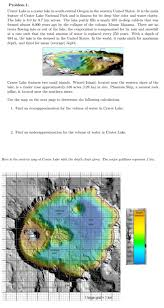 Wizard Lake Depth Chart Solved Problem 1 Crater Lake Is A Crater Lake In South Ce