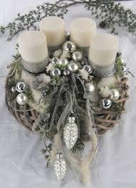 Edler Adventskranz Silber Weiß Im Shabby Look Aufwendig