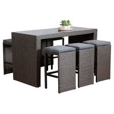3 to 3 5 feet 7 piece outdoor cane wicker bar table and backless stool set
