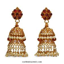 Latest Gold Jhumka Earrings Design With Price In India 22k Gold Jhumka Earrings From Bhima Jewels South India Jewels