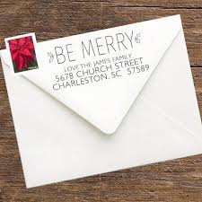 How To Address A Christmas Card Christmas Return Address Stamp For Envelopes Christmas