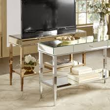 Camille Glam Mirrored TV Stand Console Table with Drawer by INSPIRE Q