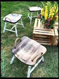 repurposed chars into stools with rope handles what a cool idea diy yard furniturediy furniture repurposeoutdoor