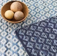 denim rag diamond indigo cotton rug