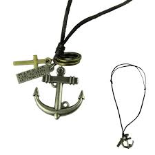 2016 fashion jewelry necklace cow leather men necklace punk retro cross anchor