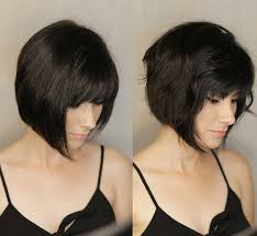 Hairstyle Short With Texture Color Full Bangs On Retro Angled Bob