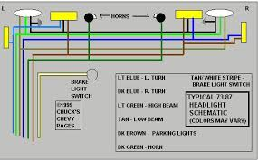 headlight and tail light wiring schematic diagram typical 1973 headlight and tail light wiring schematic diagram typical 1973 1987 chevrolet truck chevy truck wiring chuck s chevy truck pages