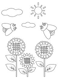 無料のひまわり向日葵とセミのぬりえ ぬりえパーク