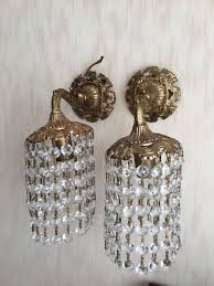 pair of old gold plated brass wall lamps with glass bangles chandelier lamps