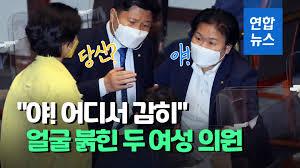 영상] 국회 본회의장에 울려퍼진 반말 야!…두 의원 말싸움   연합뉴스