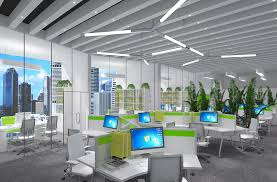 Modern open office furniture layout