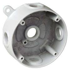 round weatherproof electrical box with 5 1 2 in holes white case
